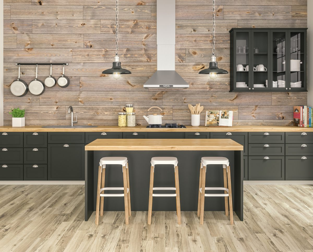 Accent wall with rustic barnwood in updated kitchen [Easy Barnwood Collection from Great American Spaces]