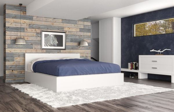 Wood pallet accent wall in a modern bedroom [Easy Barnwood from Great American Spaces]