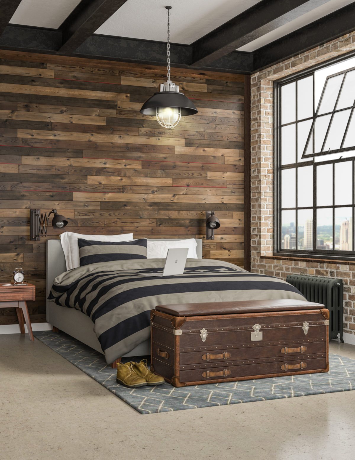 Modern bedroom with rustic wood accent wall [Easy Barnwood Collection from Great American Spaces]