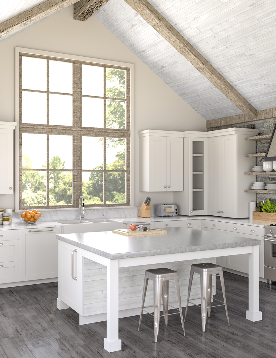 Rustic kitchen with wood panel ceiling and kitchen island [Easy Barnwood Collection from Great American Spaces]