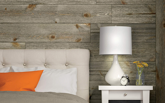 Bedroom Wood Accent wall using Easy Barnwood in Old Barn Gray
