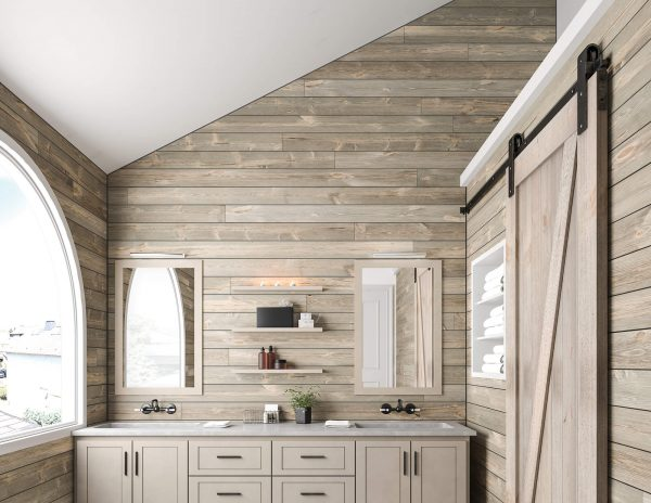 Bathroom with shiplap walls and sliding barn door [ShipLap Collection from Great American Spaces]