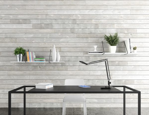 Modern office with white shiplap walls [ShipLap Collection from Great American Spaces]