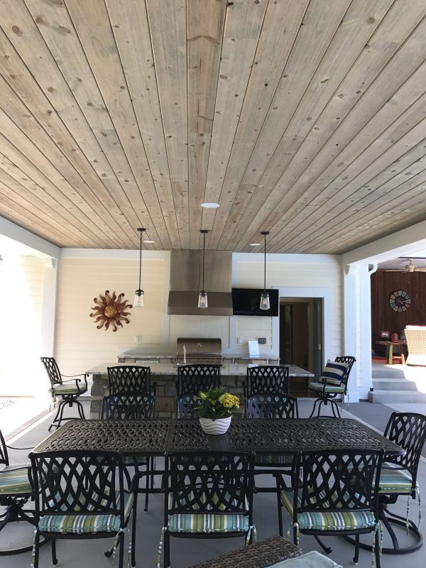 Patio kitchen with pallet ceiling [Easy Barnwood Collection from Great American Spaces]