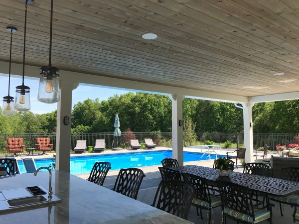 Rustic pool and patio area [Easy Barnwood Collection from Great American Spaces]