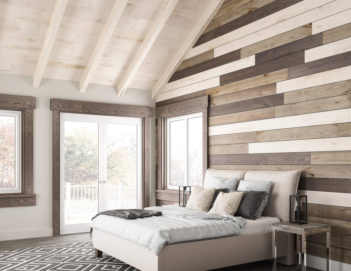 Rustic, peaceful master bedroom with vaulted ceilings and rustic wood paneling [Easy BarnWood Collection from Great American Spaces]