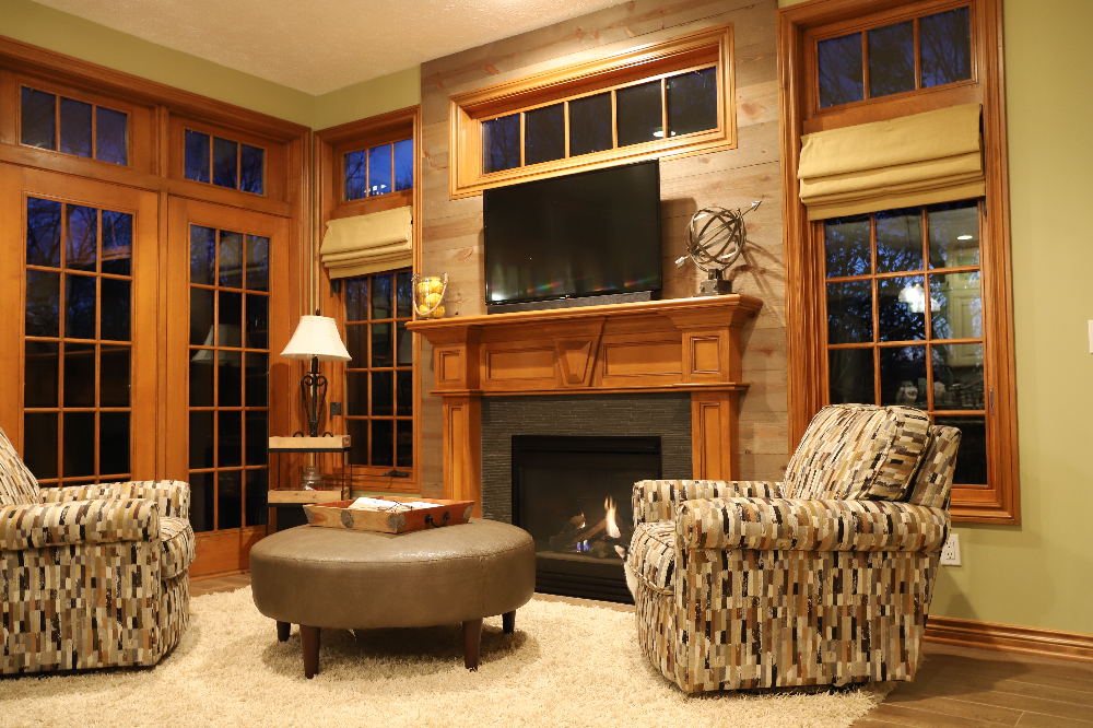 Fireplace wood accent wall with BarnWood