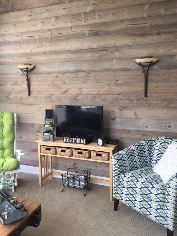 Living Room Wood Wall using Easy BarnWood in Covered Bridge