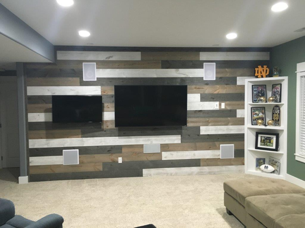 Accent wall in Easy BarnWood in Mixed Easy BarnWood Old Barn Gray, covered bridge and traditional white square edge