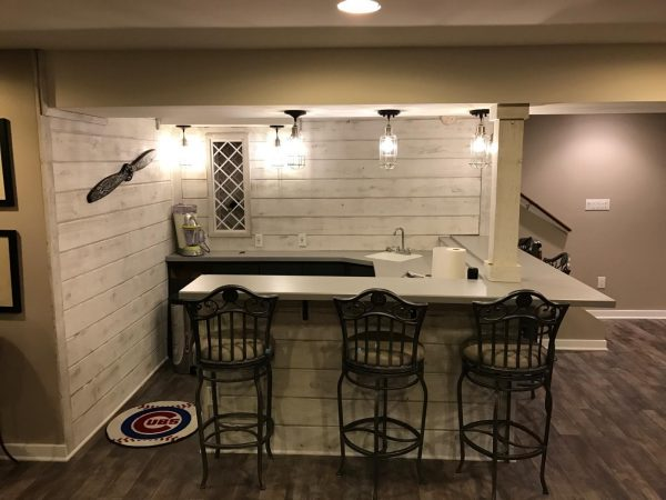 White washed barnwood bar