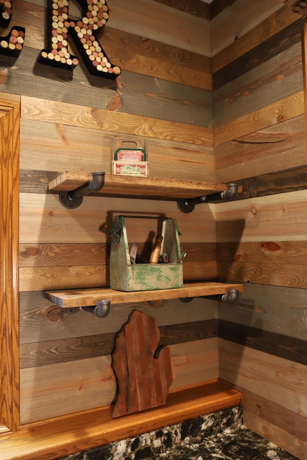Wood Walls in Kitchen using Easy BarnWood and Mixed BrewPub highlighting shelves