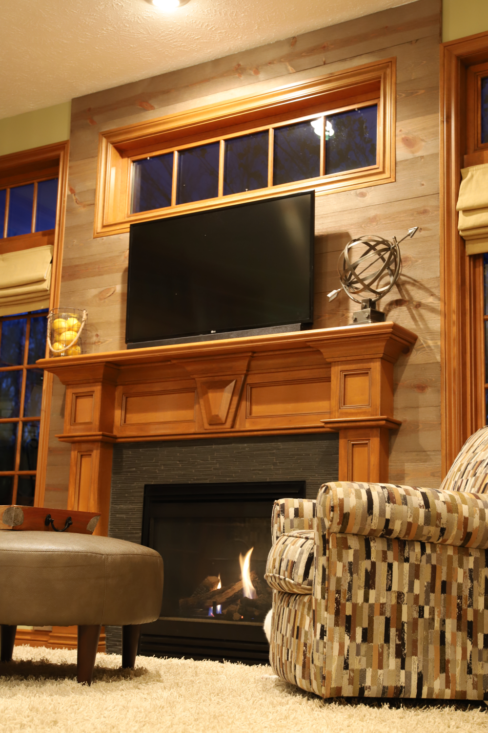Fireplace Accent wall using Great American Spaces using Easy BarnWood in Covered Bridge