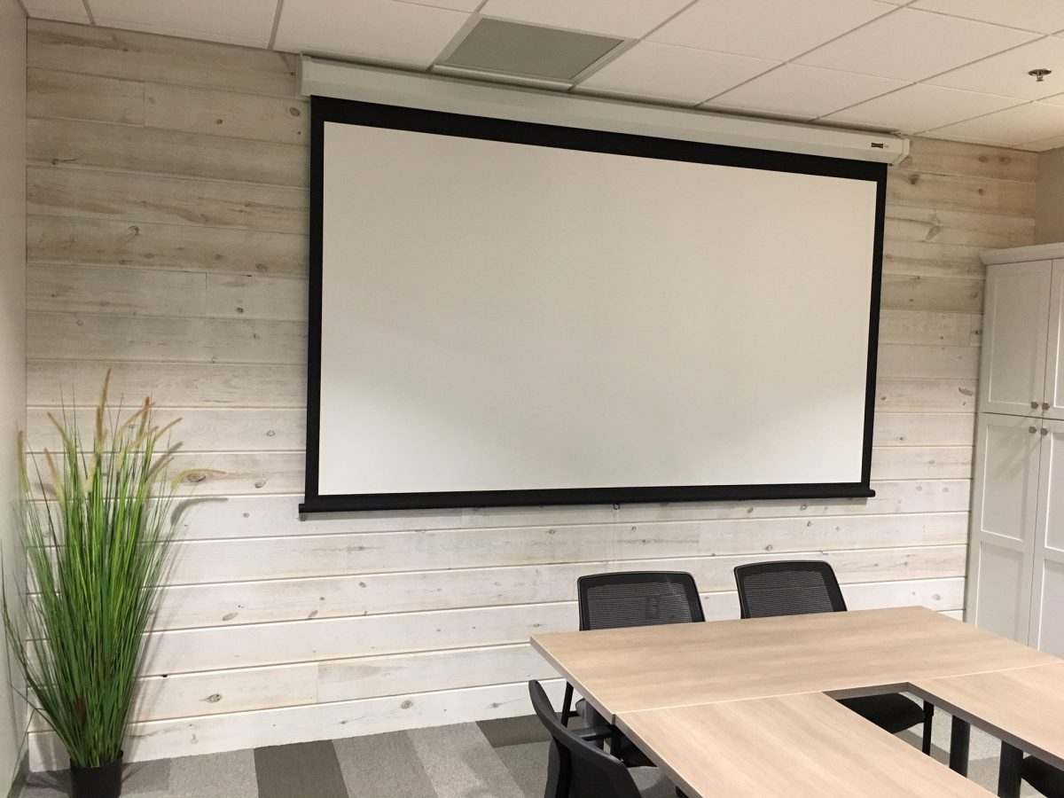 Office conference room using Great American Spaces Easy BarnWood in Traditional White