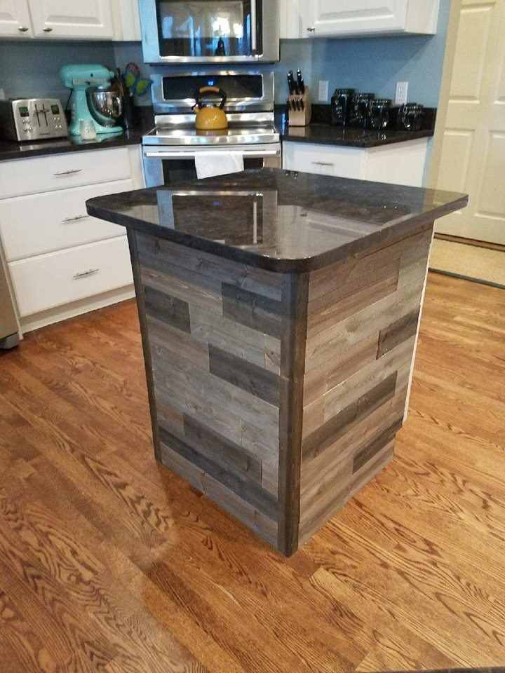 Kitchen Island Covering Using Great American Spaces Rustix in Smokewood