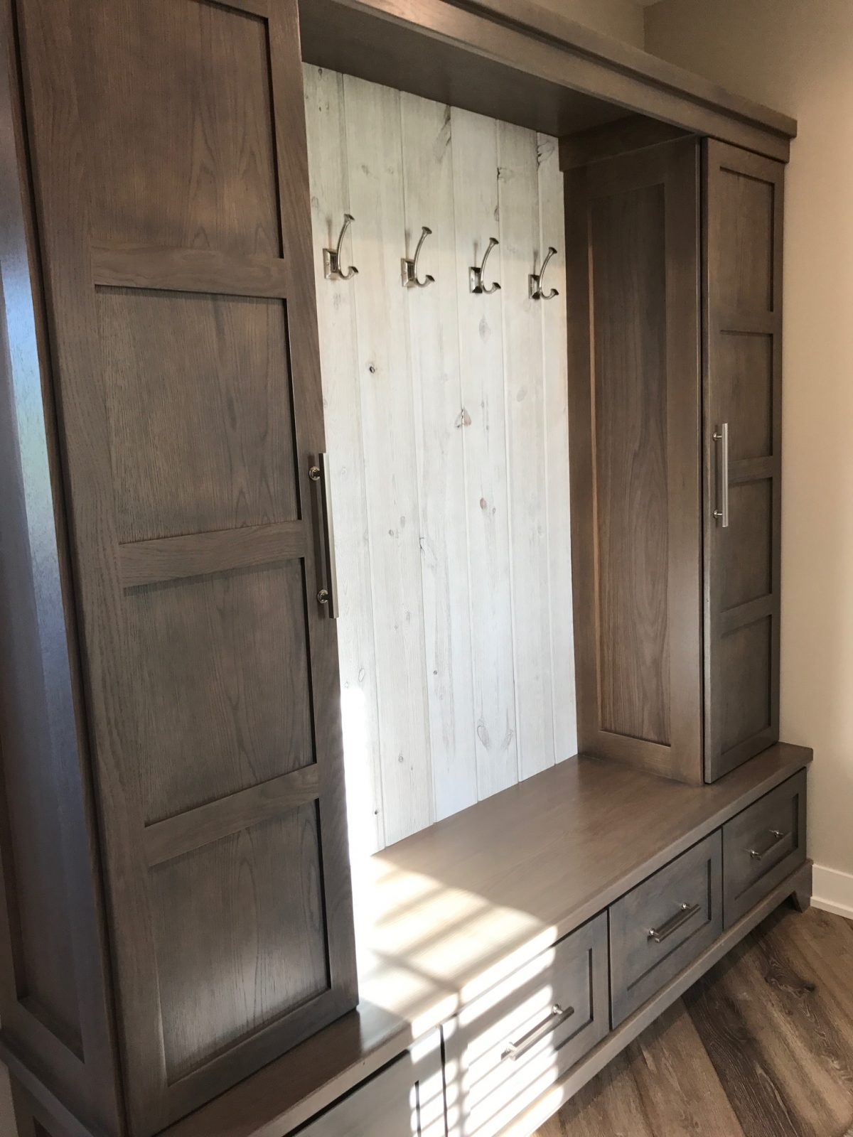Mudroom Accent Wall using Great American Spaces Easy BarnWood in Traditional White