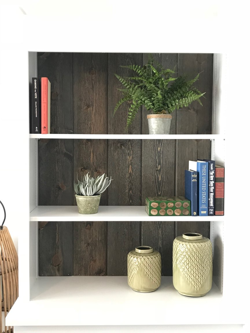 Book Case Back Wall using Great American Spaces Easy Barnwood