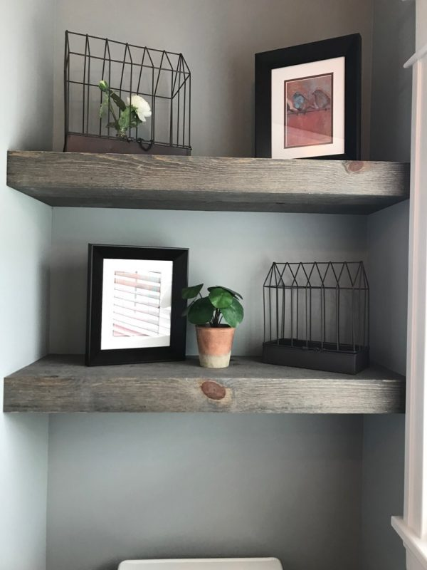 Shelves Built Using Great American Spaces using Easy BarnWood in Old Barn Gray