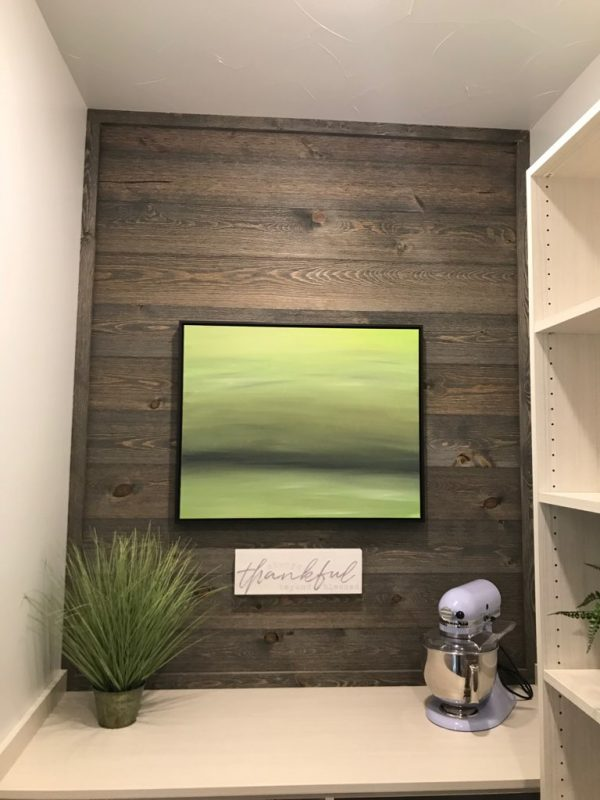 Kitchen Accent Wood Wall Using Great American Spaces Easy BarnWood in Old Barn Gray