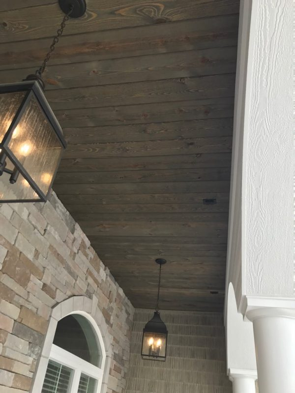 Porch Wood Ceiling Using Great American Spaces using Easy BarnWood in Old Barn Gray