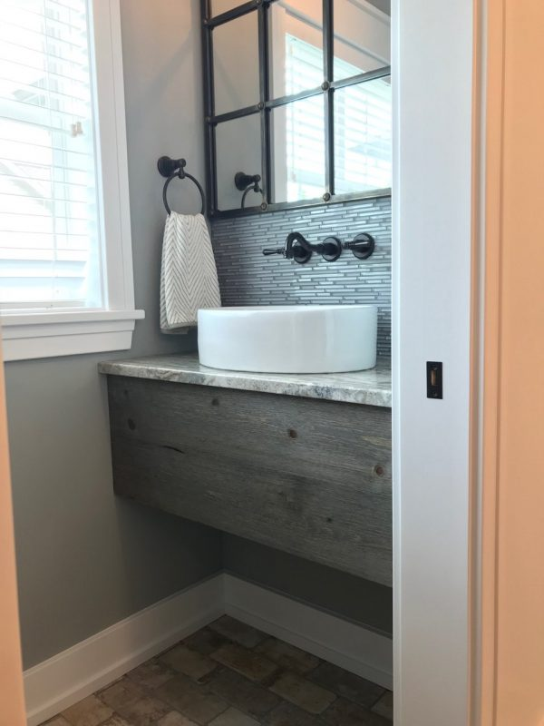 Bathroom Sink Covering using Great American Spaces Easy BarnWood in Sterling Gray
