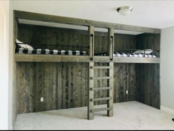 Bunk Room Accent Wood Wall using Great American Spaces Easy BarnWood Collection in Old Barn Gray