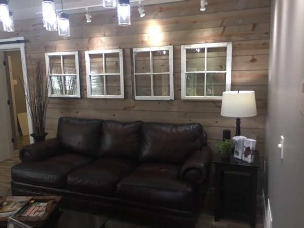 Spruce up your lobby with a Wood accent wall using Great American Spaces Easy Barnwood in Silver Ash
