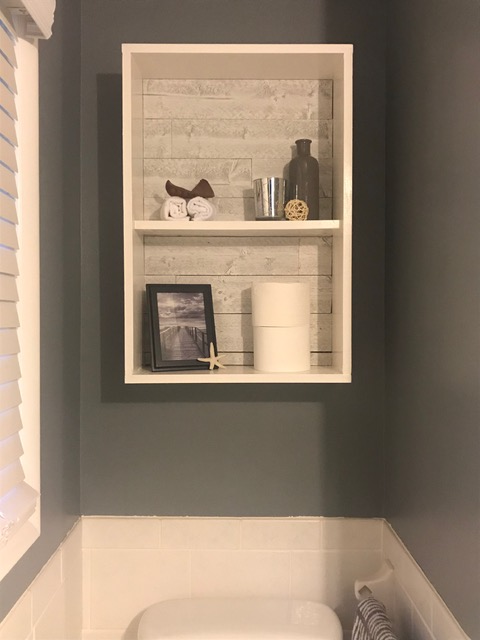 Shelve backing using Great American Spaces Rustix in Beachwood