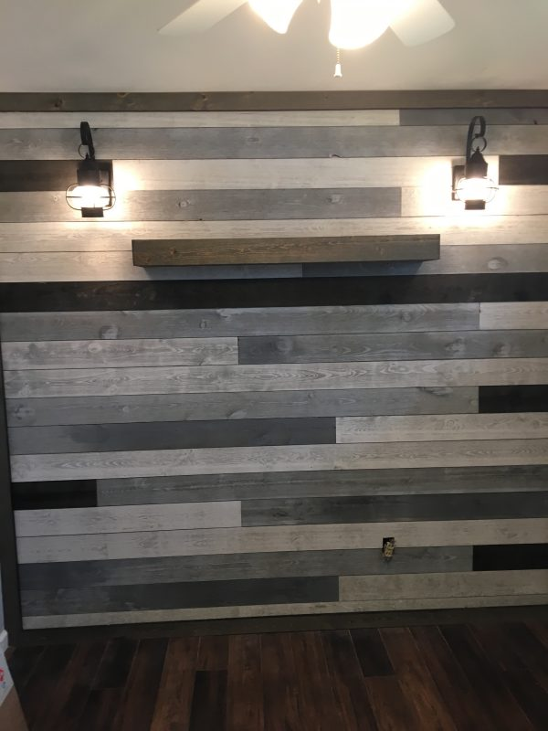Great American Spaces Accent Wall using ShipLap with a mix of colors