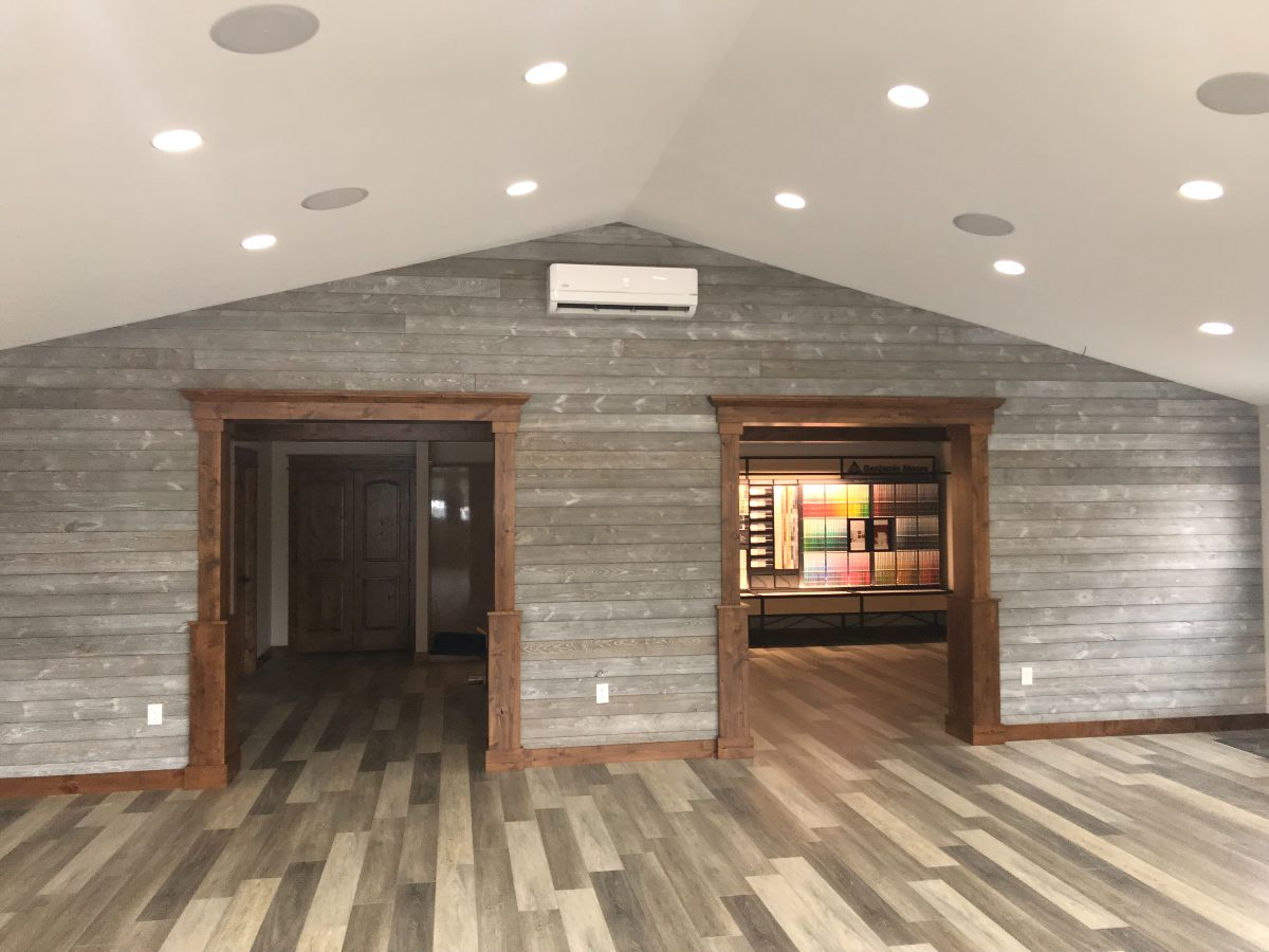 Wood Accent Wall using Great American Spaces ShipLap in Gray Sky