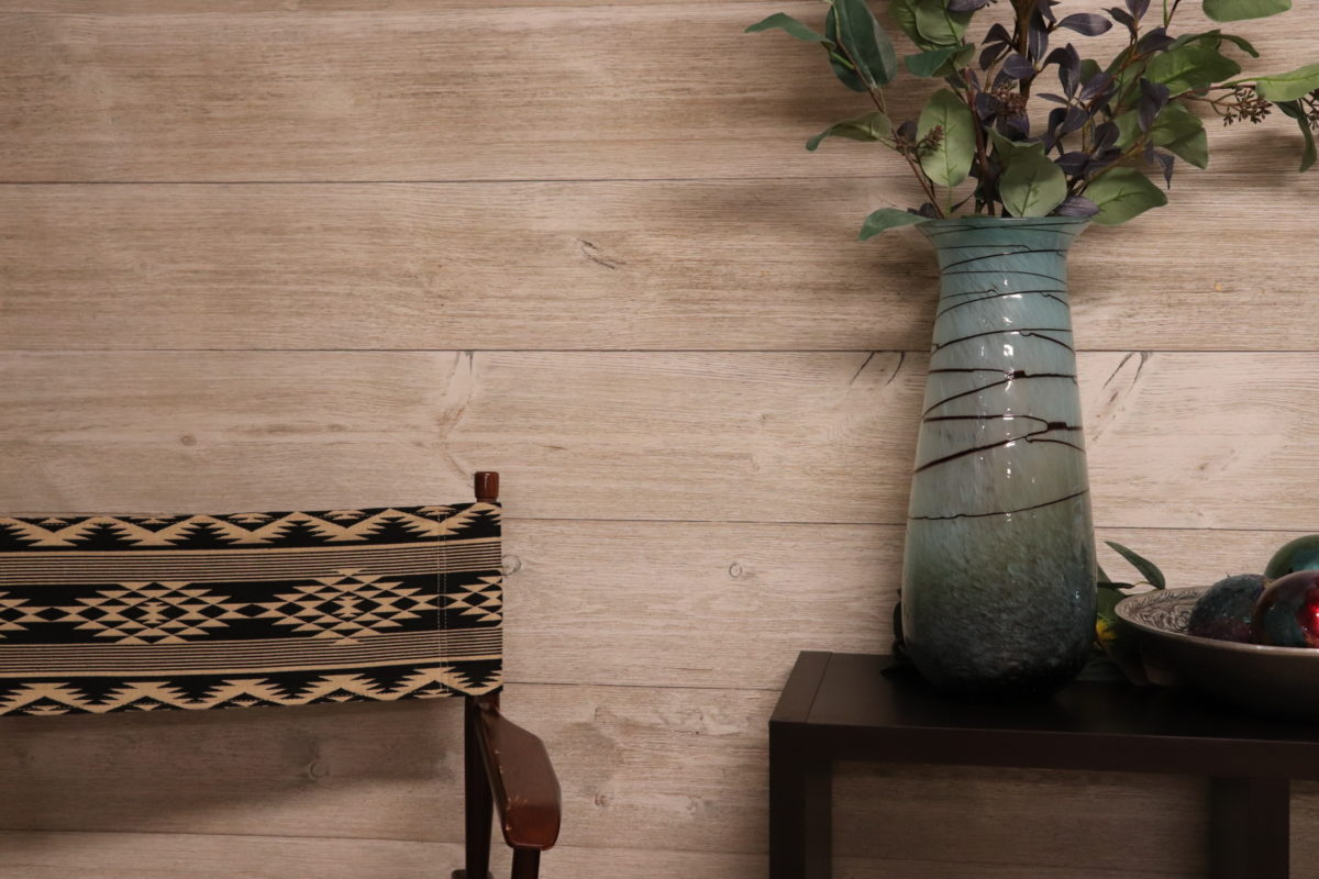 Accent Wall using Great American Spaces in Easy BarnWood in Traditional White