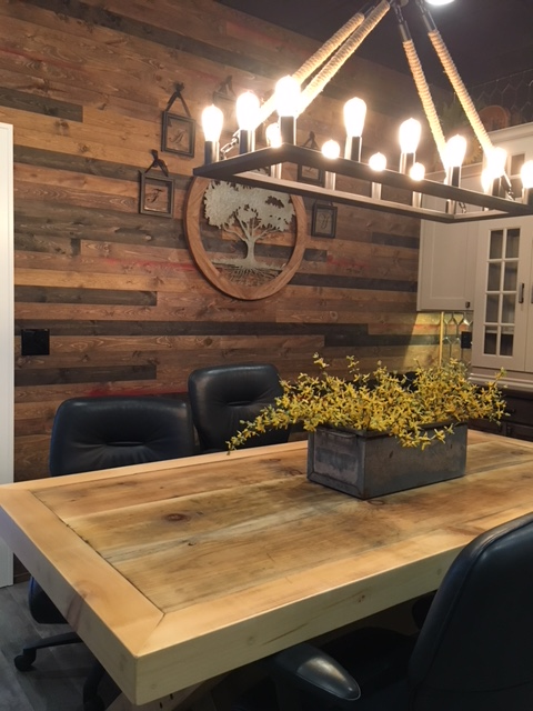 Dining Room Wood Accent Wall using Great American Spaces BrewPub Whiskey Barrel