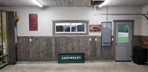 Garage using Great American Spaces Ceiling in Easy BarnWood in Traditional White, Wall in Easy BarnWood in Old Barn Gray