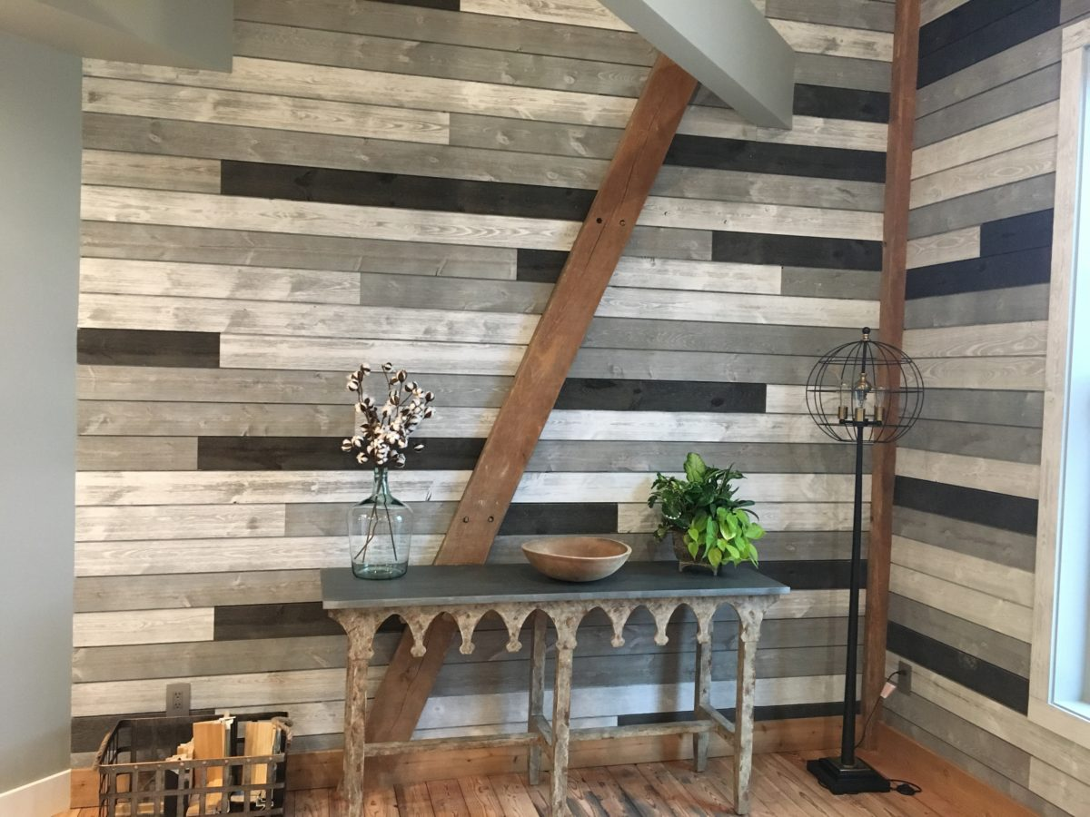 Great American Spaces Wood Accent Wall ShipLap Mix With Gray Sky, Cloud and Charcoal)