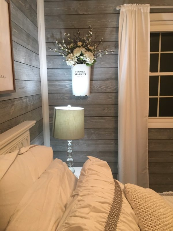 Bedroom Wood Side Walls using Great American Spaces ShipLap in Gray Sky