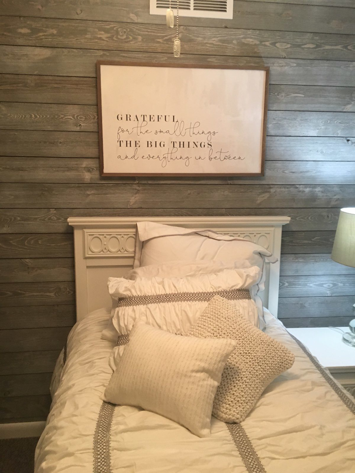 Bedroom Wood Walls using Great American Spaces ShipLap in Gray Sky