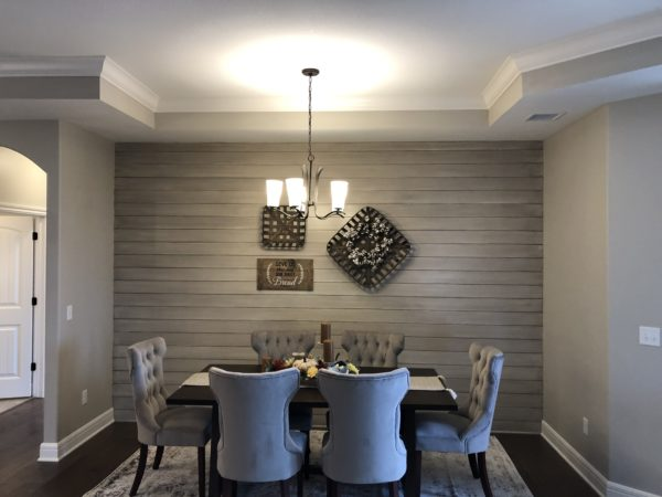 Great American Spaces Dining Room Wood Accent Wall using ShipLap Cloud
